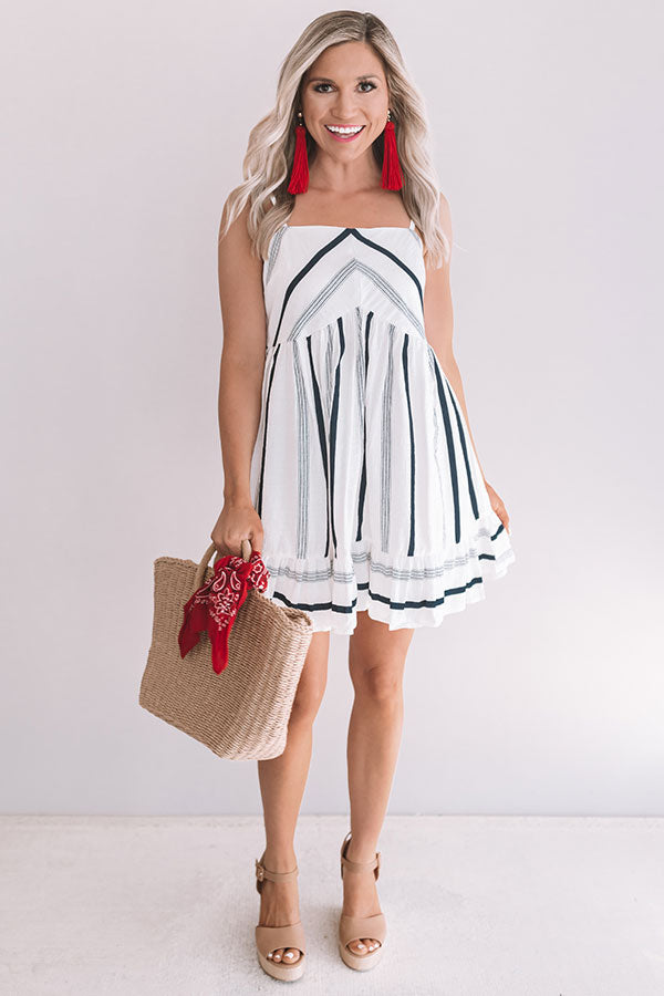 Sunshine On My Mind Stripe Babydoll Dress In Navy