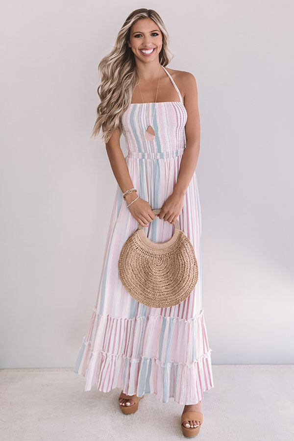 Sunning Ashore Smocked Maxi In Vineyard Grape
