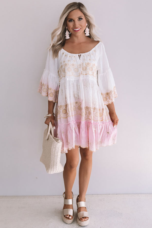 Graceful Gathering Babydoll Eyelet Dress