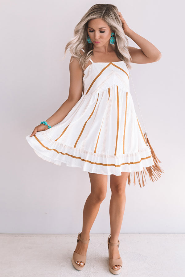 Sunshine On My Mind Stripe Babydoll Dress In Mustard