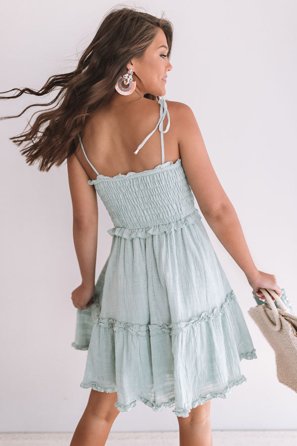 Tikis And Tanlines Smocked Dress In Mint