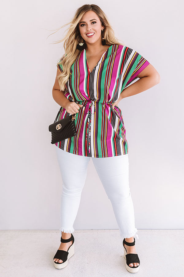 Hot Tropic Stripe Tunic In Orchid