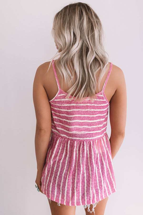 Sandbar Chic Stripe Babydoll Top In Fuchsia