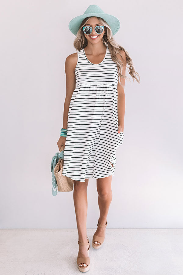 Feeling Pretty Stripe Babydoll Dress In White