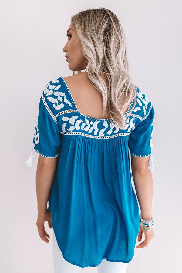 Oh Cabana Boy Embroidered Shift Top In Blue