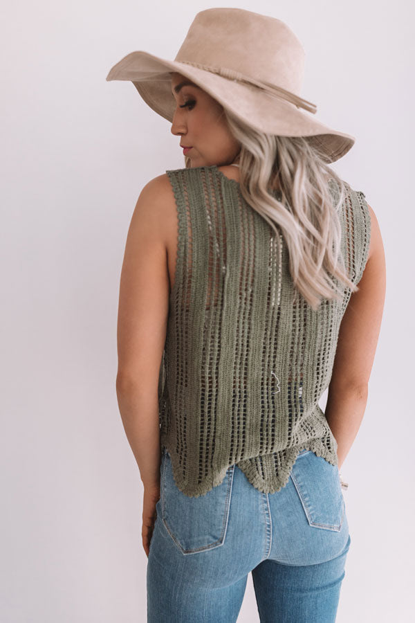 Concert Nights Knit Tank In Army Green