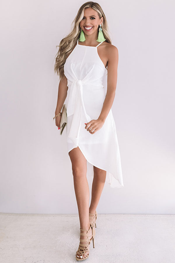 Gorgeous Girl Front Tie Midi In White