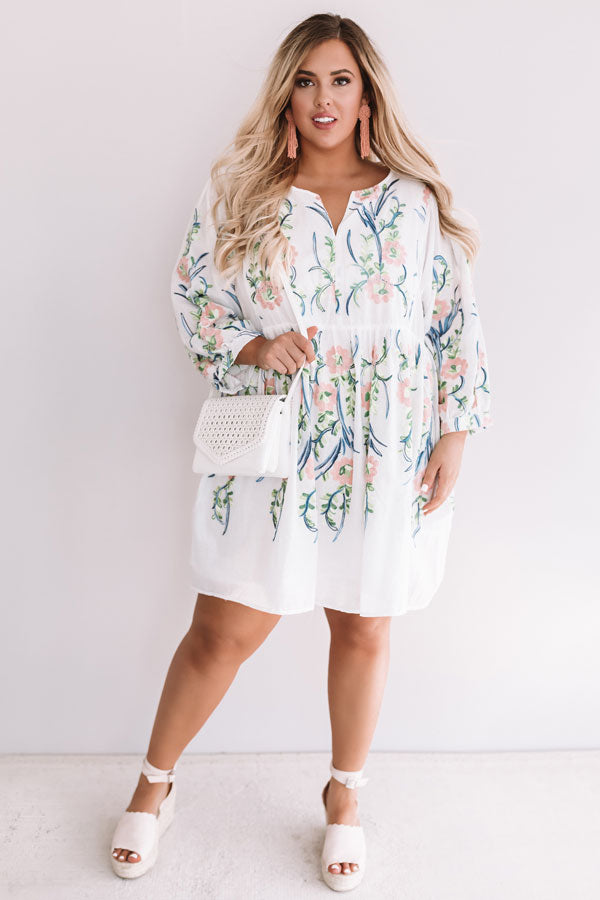 Summer And Sunsets Embroidered Dress In White