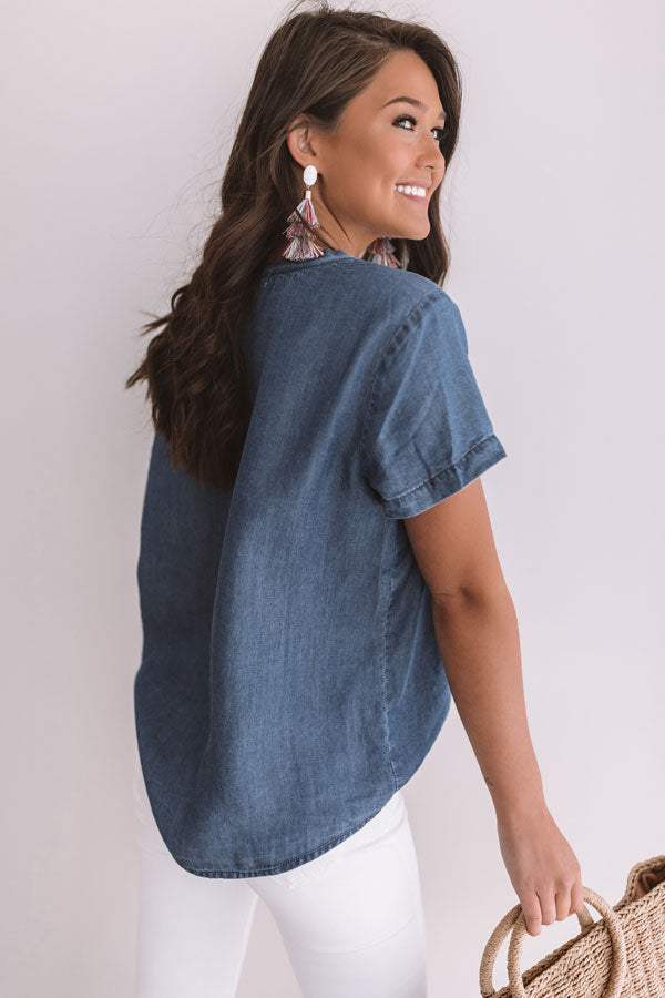 Out Of Office Chambray Top