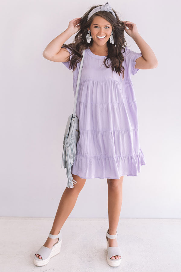 Beyond Basic Babydoll Dress in Dusty Purple