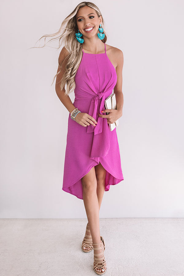 Gorgeous Girl Front Tie Midi In Orchid