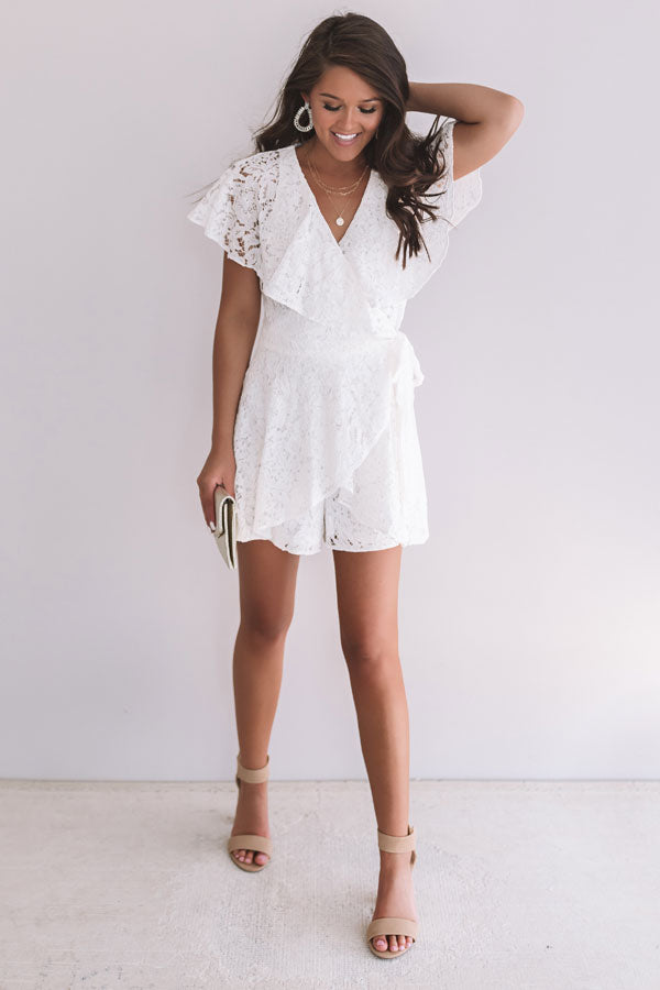 Rome And Romance Lace Wrap Romper