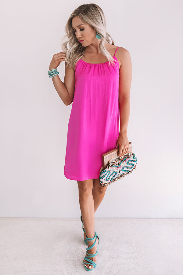 Chicest Of All Satin Dress In Hot Pink