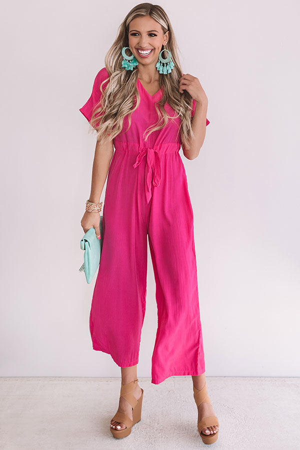 Wishing For Wine Satin Jumpsuit In Hot Pink