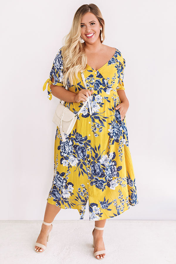 Riviera Romance Midi Dress In Marigold