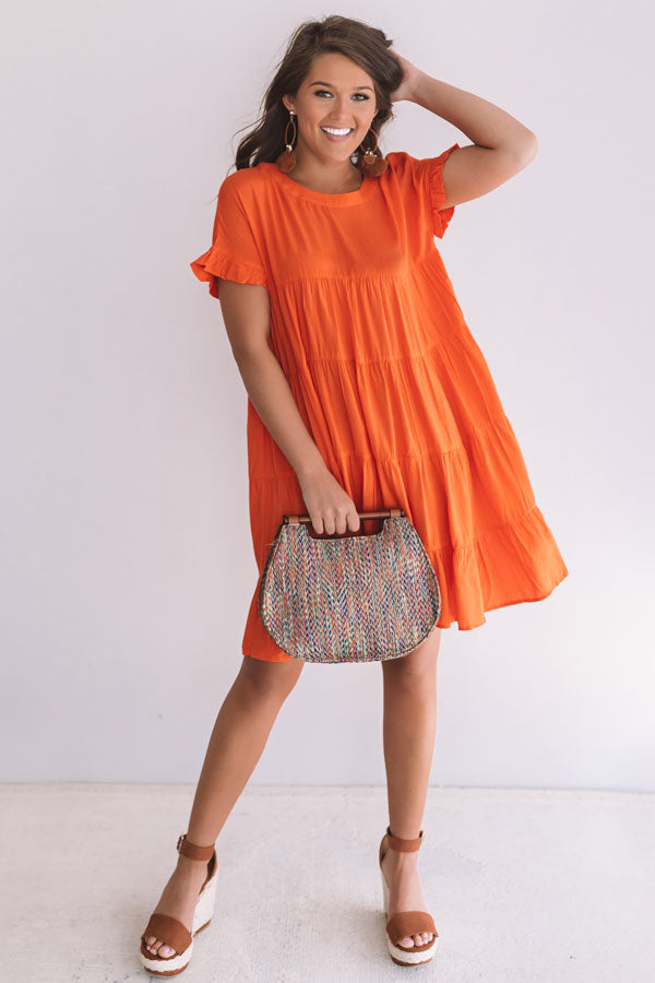 Beyond Basic Babydoll Dress in Tangerine