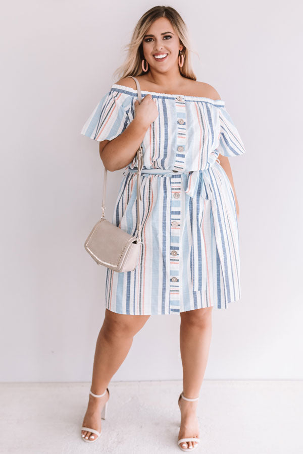 Sunny State Of Mind Stripe Dress In Sky Blue