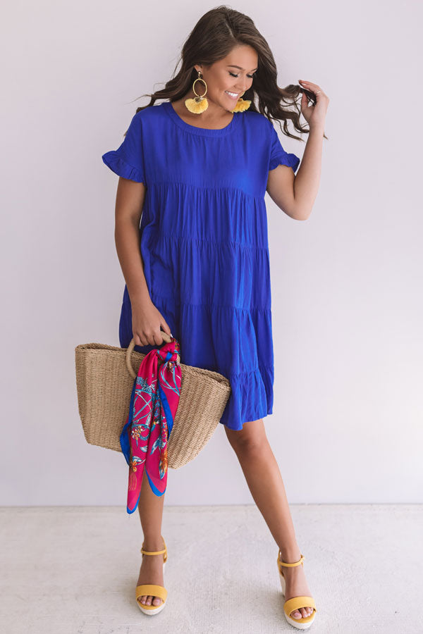Beyond Basic Babydoll Dress in Royal Blue