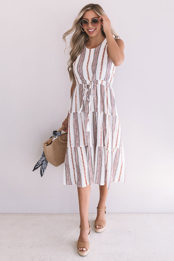 Sunset Twirls Stripe Midi in White
