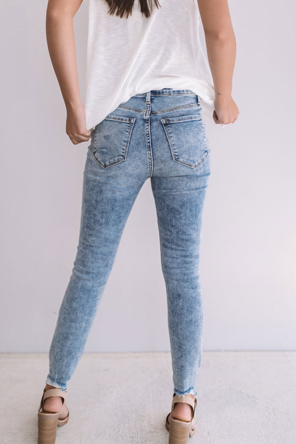 The Sasha High Waist Distressed Ankle Skinny