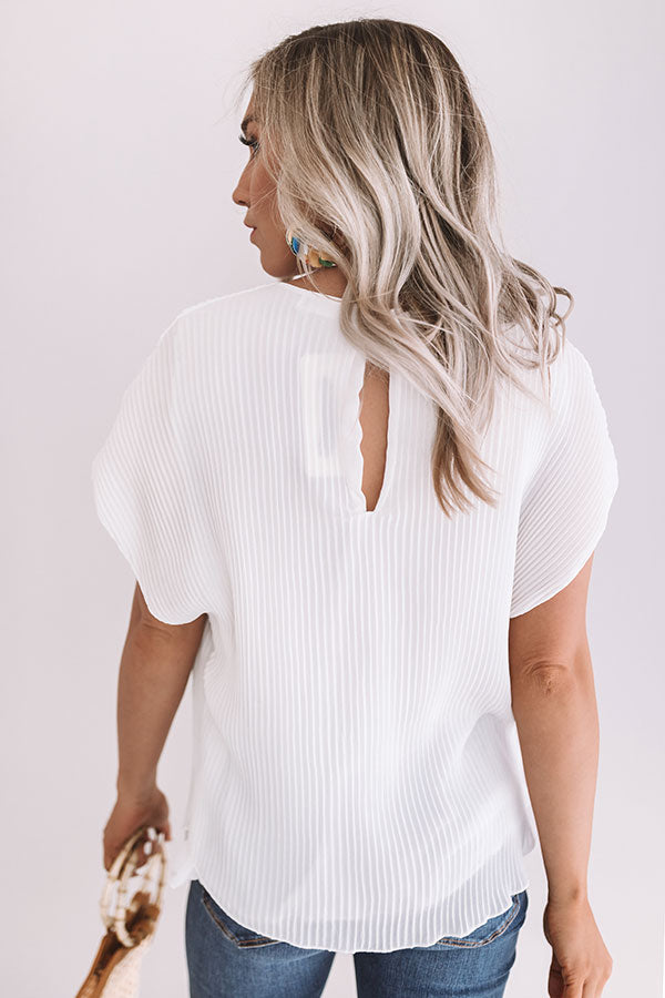 Pretty Perks Pleated Top In White