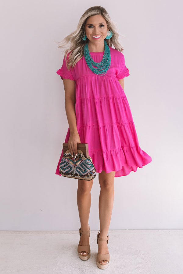 Beyond Basic Babydoll Dress in Hot Pink