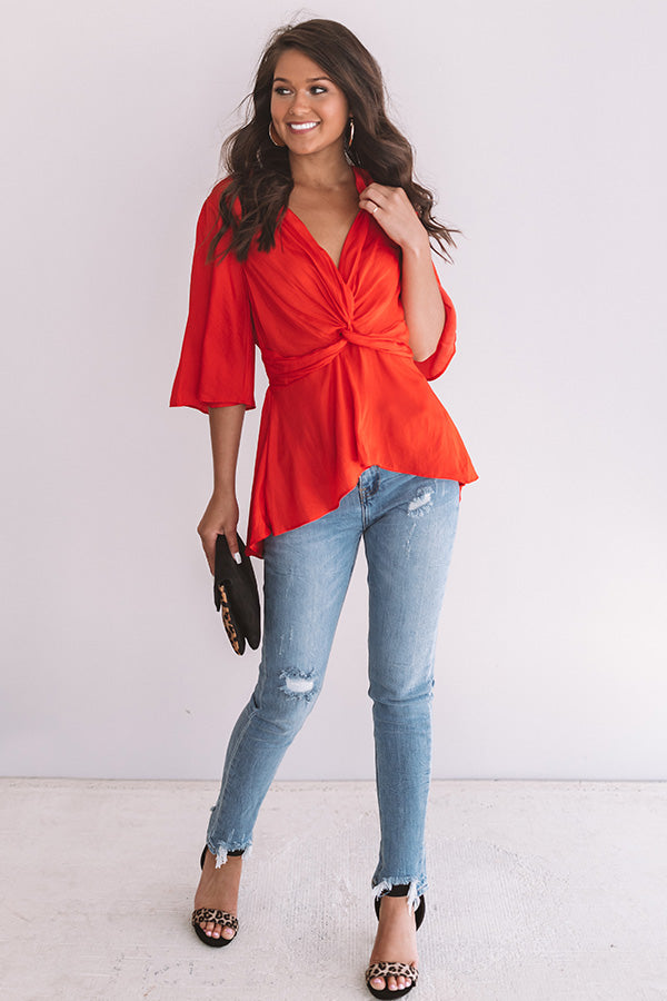 Hamptons Divine Satin Top In Red