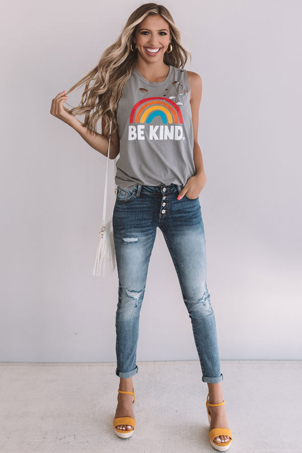 Be Kind Distressed Boyfriend Tank