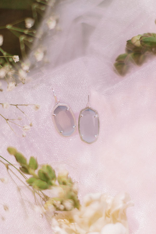 Dani Silver Drop Earrings in Slate Cat's Eye