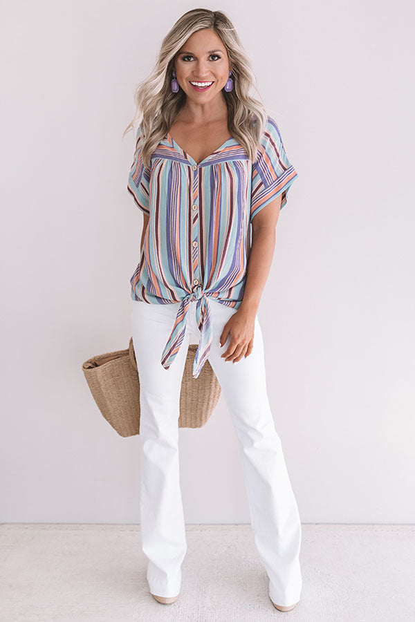 Hey, Happy Hour Stripe Top in Lavender