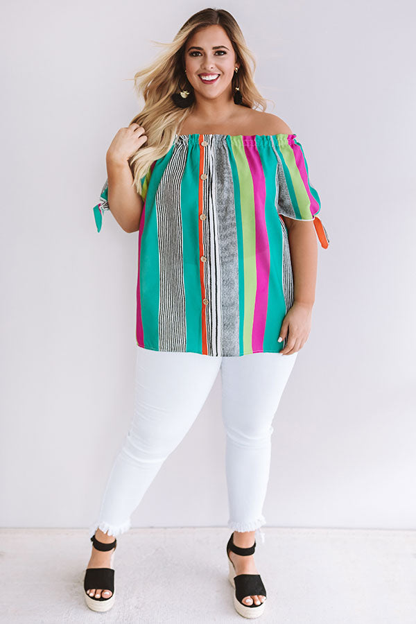 Travels To The Coast Stripe Shift Top In Green