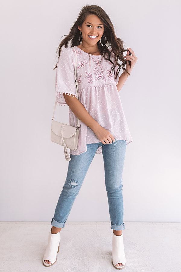 Brunch And Bliss Embroidered Babydoll Top in Blush