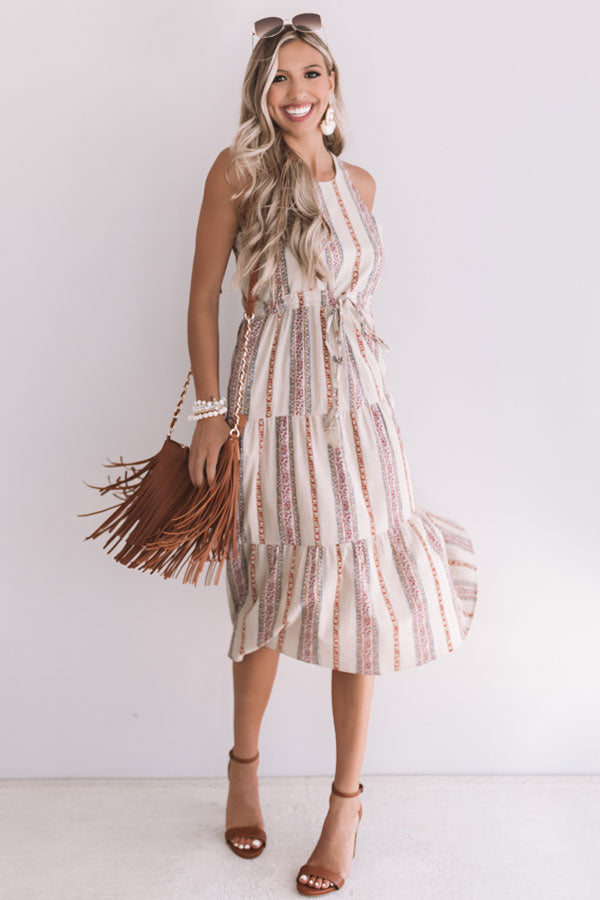 Sunset Twirls Stripe Midi in Taupe