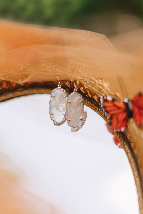 Elle Silver Drop Earrings in Ivory Pearl