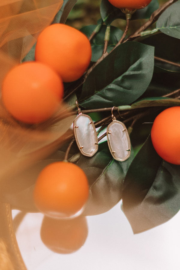 Elle Gold Drop Earrings in White Pearl