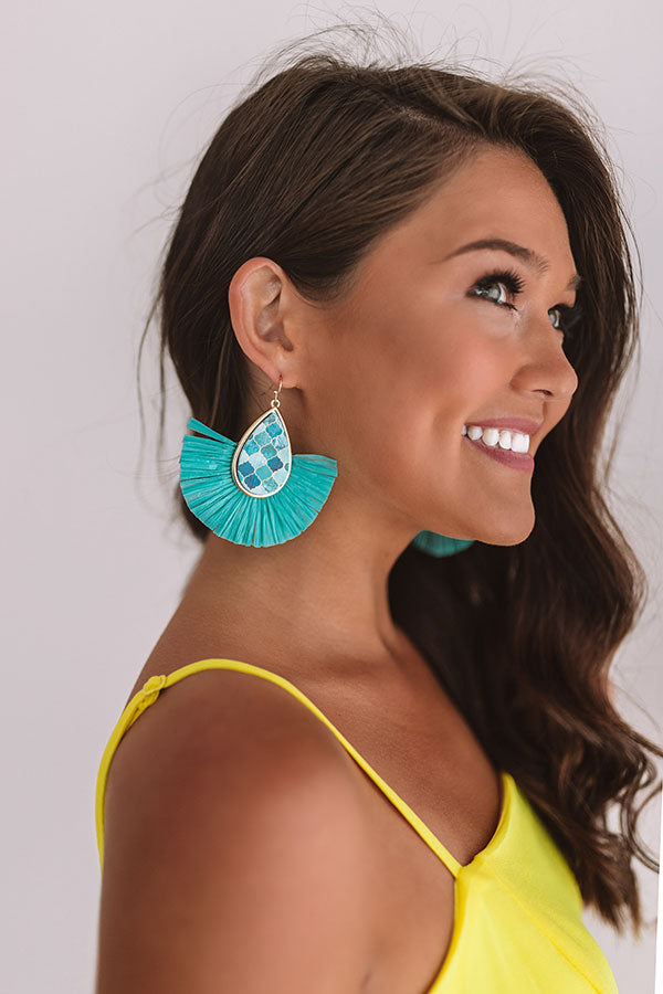 Flight To Florence Fan Earrings In Turquoise