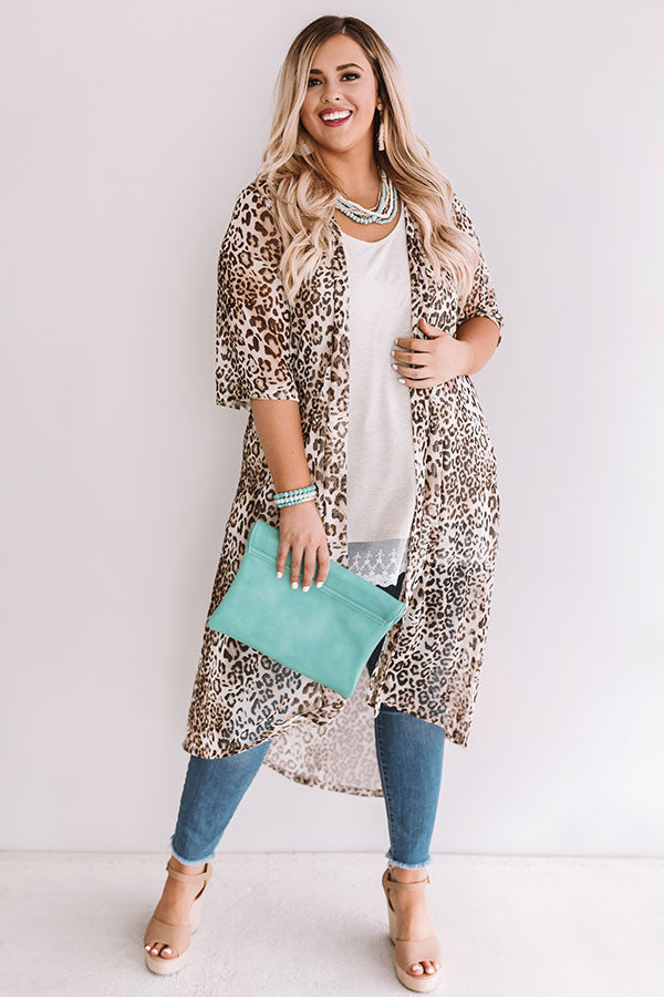 Dare To Dream Leopard Duster In Brown