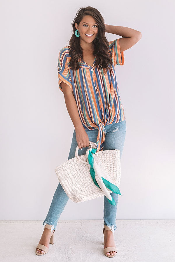 Hey, Happy Hour Stripe Top in Persimmon