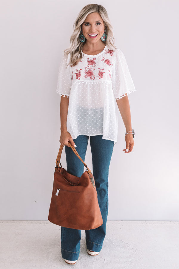 Brunch And Bliss Embroidered Babydoll Top in White