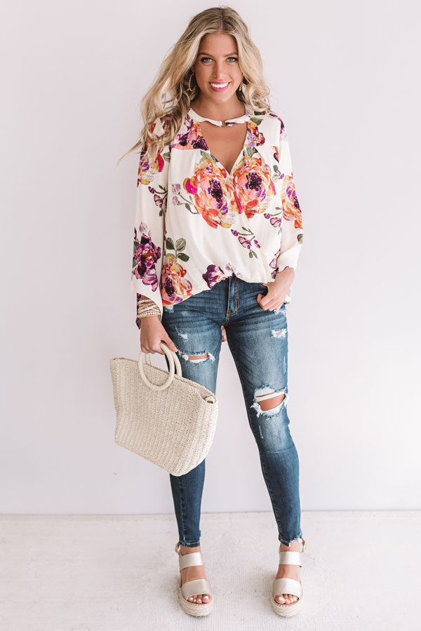 Palms And Kisses Floral Top