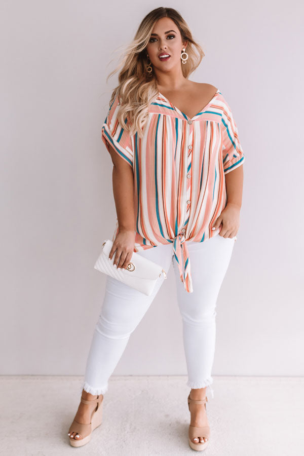 Hey, Happy Hour Stripe Top in Blooming Dahlia