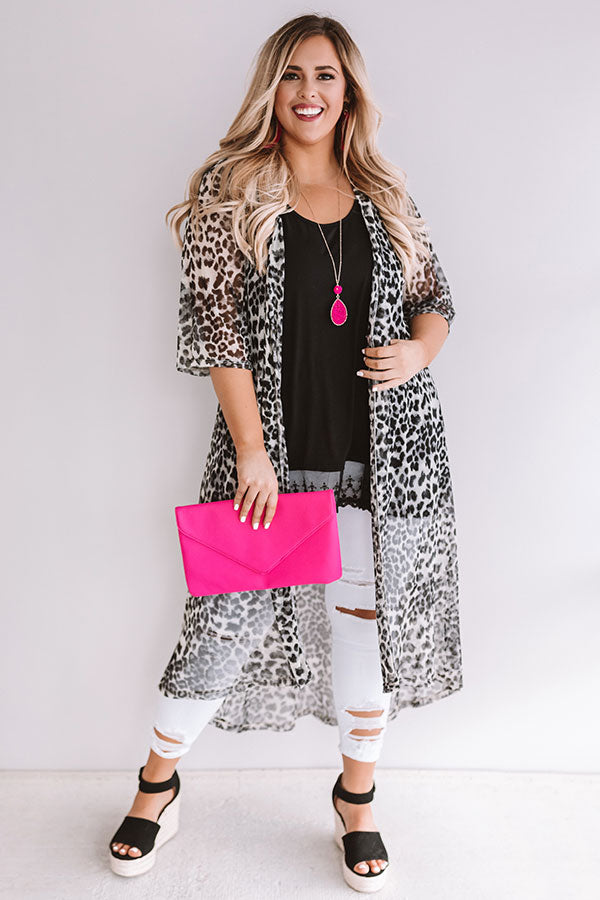 Dare To Dream Leopard Duster In Dark Grey