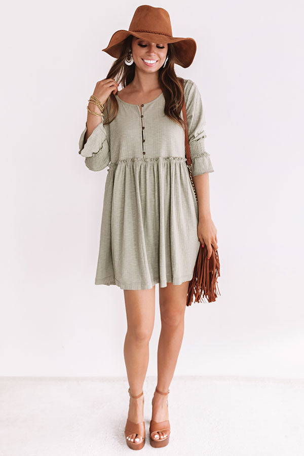 Fingers Crossed Babydoll Dress In Pear