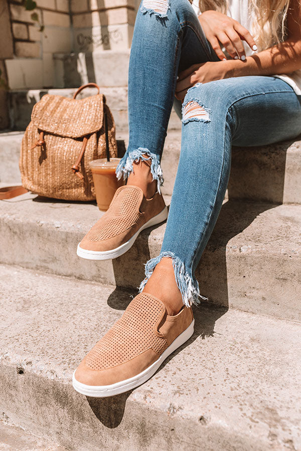 The Brantley Perforated Sneaker In Tan