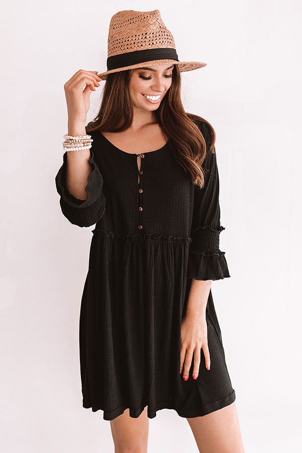 Fingers Crossed Babydoll Dress In Black