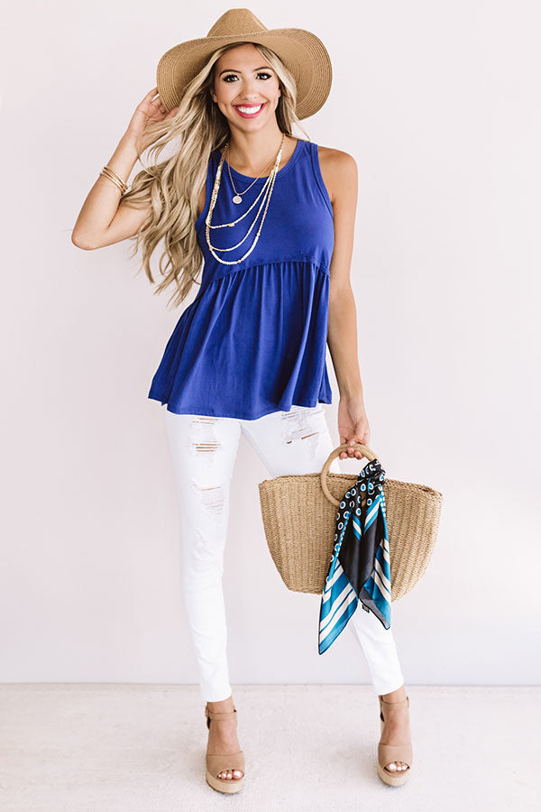 Sugar And Spritzers Babydoll Top In Royal Blue