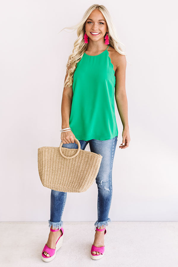 Suncatcher Shift Tank In Kelly Green