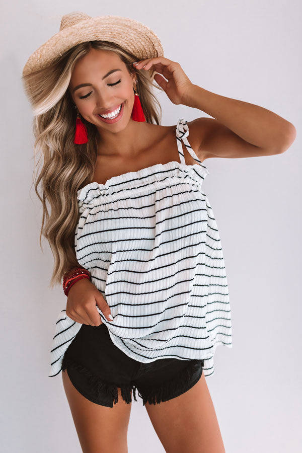 Better With Bellinis Stripe Tank In Ivory