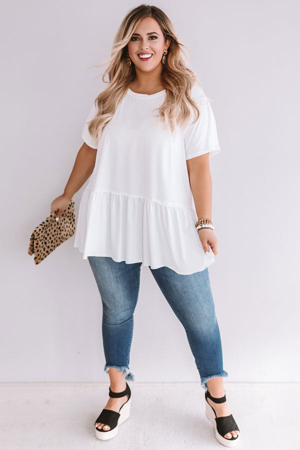 Weekend Comforts Shift Top In White