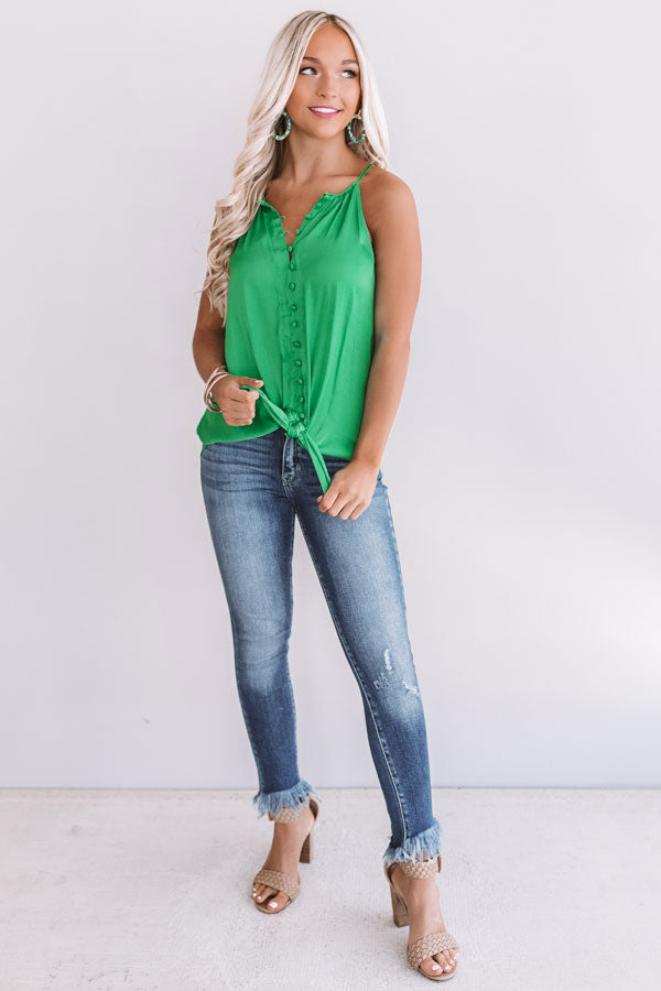 Good Spirits Button Up Tank In Kelly Green